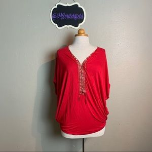 Huang shu chi red lace up top medium 4a29